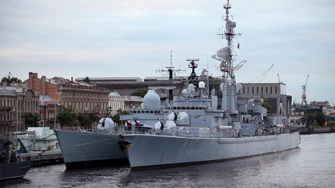 Warships at the pier Stock Video Footage