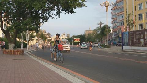 Heihe Evening Street Traffic 02 Stock Video Footage