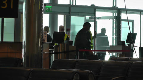Airport Cleaning Staff 01 60fps native slowmotion handheld Stock Video Footage