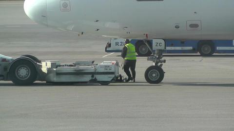 Airport Staff working 02 handheld Stock Video Footage