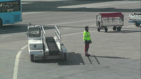 Airport Worker handheld Footage