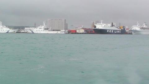 Arriving to Ishigaki Port Okinawa 01 tracking shot Stock Video Footage