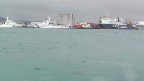 Arriving to Ishigaki Port Okinawa 01 tracking shot Stock Video Footage