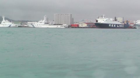 Arriving to Ishigaki Port Okinawa 01 tracking shot Footage
