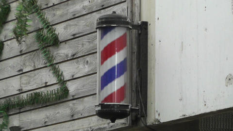 Barber Hair Dresser Sign in Japan Stock Video Footage