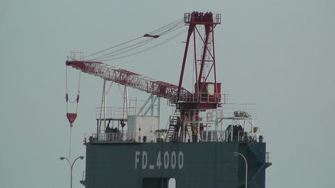 Cargo Towers in a Port in Okinawa Islands 02 heat Stock Video Footage
