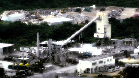 Cement Concrete Factory in rural Japan stylized 01 Stock Video Footage