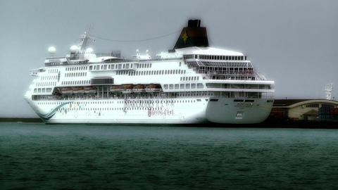 Cruise Ship in Okinawa Islands stylized 01 Stock Video Footage