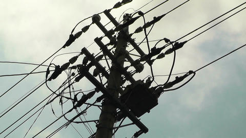 Electric Pole in Japan Clouds Timelapse Stock Video Footage