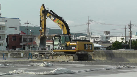 Excavator in work Okinawa Islands 01 Stock Video Footage