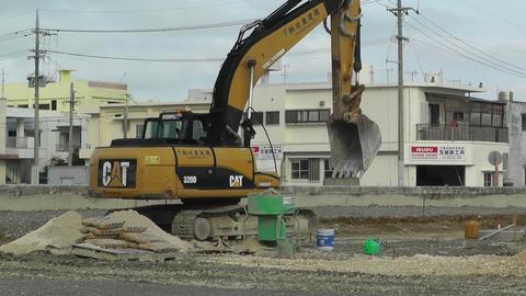 Excavator in work Okinawa Islands 03 Stock Video Footage
