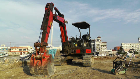 Excavator parking Okinawa Islands 01 Stock Video Footage