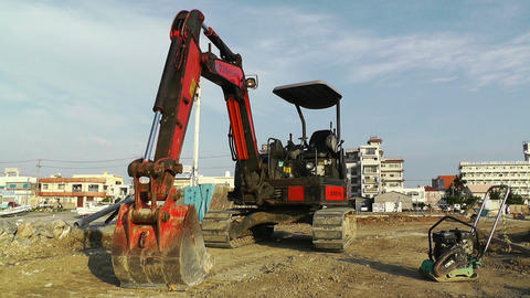 Excavator parking Okinawa Islands 01 Footage
