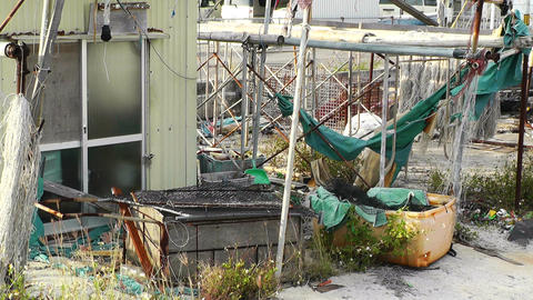 Garbage in Fishing Port 01 Stock Video Footage