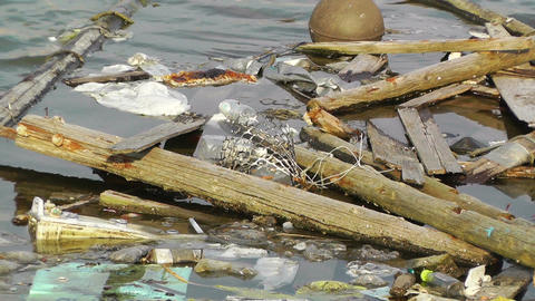 Garbage in Water 01 pollution Stock Video Footage