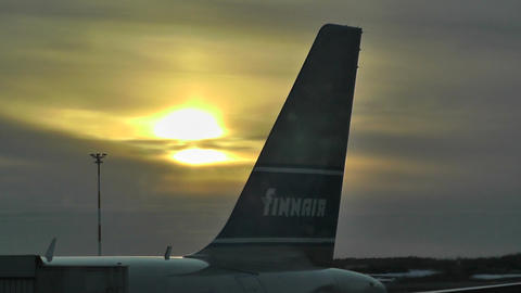 Helsinki Vantaa Airport sunset handheld Stock Video Footage