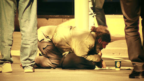Homeless Beggar 70s old film stylized Stock Video Footage