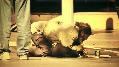 Homeless Beggar 70s old film stylized Footage