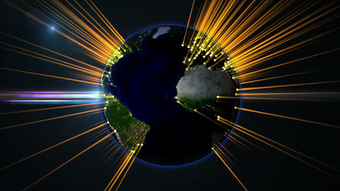 Earth globe rotation with beam light from cities Animation