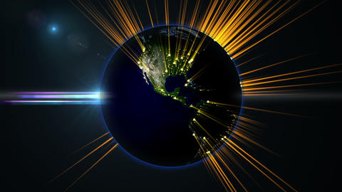 Earth globe rotation with beam light from cities Stock Video Footage