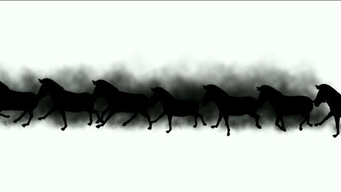 a group of horses silhouette running & dust Animation