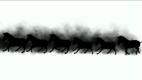 a group of horses silhouette running & dust Stock Video Footage