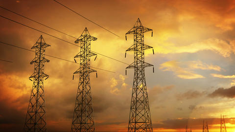 Construction of high voltage towers Stock Video Footage