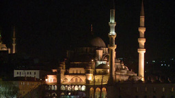 Illuminated Blue Mosque in Istanbul, Turkey Footage