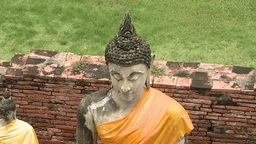 Statues of buddhas in Ayutthaya, Thailand Footage