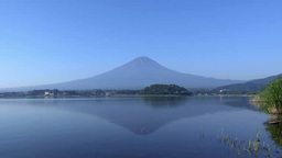 Mt. Fuji reflected on surface of lake Footage