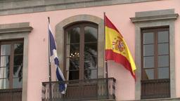 風に揺れるスペイン国旗 Footage