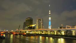 東京スカイツリーのライトアップ「粋」,微速度撮影 Footage