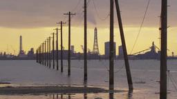 東京湾海の中の電柱 Footage