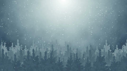 fir trees and snowfall seamless loop 4k (4096x2304) Animation