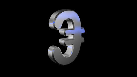 3d € sign spinning loop alpha Animation