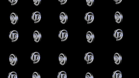 3d metalic @ signs group spinning and fly loop alpha Animation