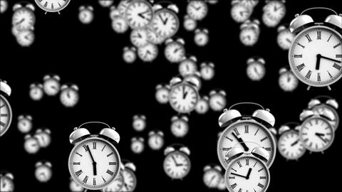 Alarm clocks falling down with depth of field effect + alpha channel Animation