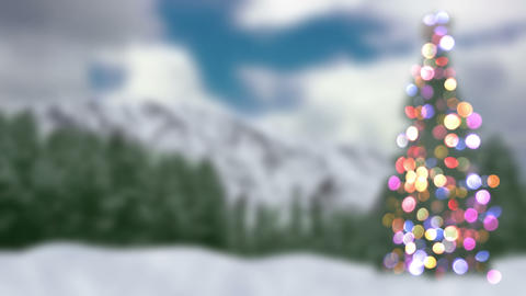 blurred christmas tree and forest loopable animation 4k (4096x2304) Animation