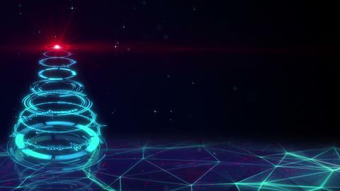 blue sci-fi christmas tree loopable animation 4k (4096x2304) Animation