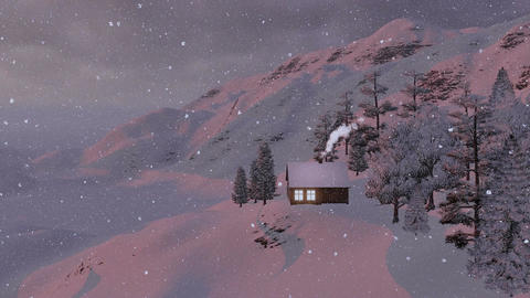 Snowy Little Cabin In The Mountains At Snowfall stock footage