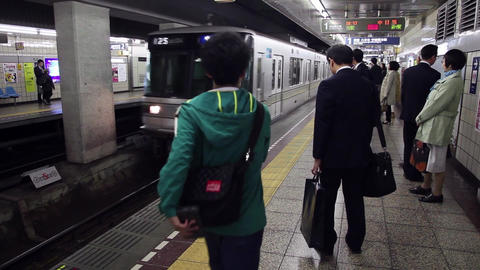 14of 23 People , commuters , train , subway , underground station , Tokyo , Japa Footage