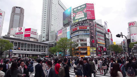 22of 23 People , pedestrians walking , square , Shibuya Crossing , Tokyo , Japan Footage