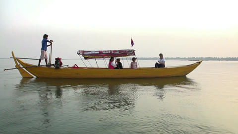 2of 10 Cambodia , Southeast Asia , Mekong River Near Kratie , Boat , Sunset stock footage