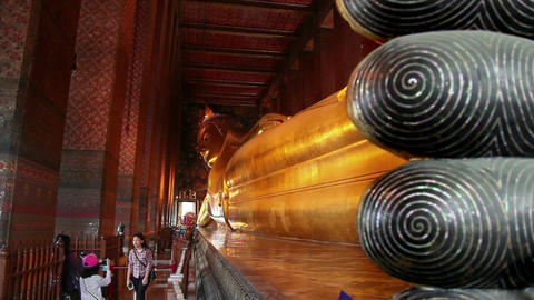 2of 9 Thailand , Southeast Asia , Reclining Buddha , Wat Pho Temple , Bangkok Footage