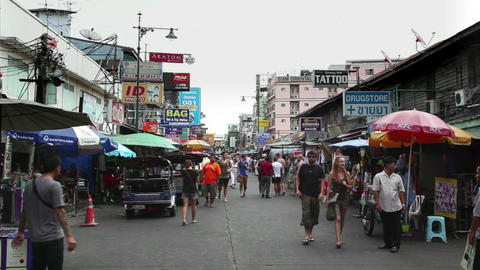 3of 9 Thailand , Asia , Khao San Road , Khaosan tourists , backpackers , Bangkok Footage