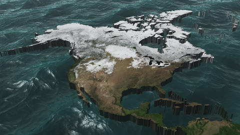 Rotate a 3D USA and Canada Map with Sea Stock Video Footage