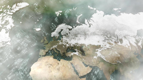 Zoom into a 3D Europe 3D Map with Sea, Clouds and Sun Stock Video Footage