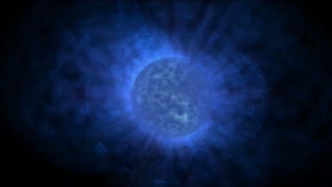 blue planet & power explosion rays laser energy in universe Animation