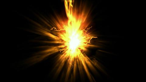 explosion fire,rays light & lightning Stock Video Footage