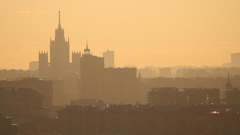 Moscow pan morning evening Stock Video Footage